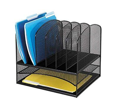Safco Products 3255bl Onyx Mesh Desktop Organizer With 6 Vertical2 Horizontal