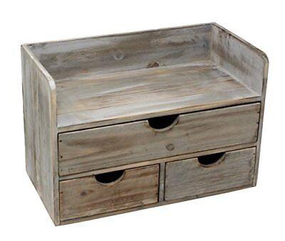 Vintage Rustic Wooden Desk Organizer Office Supplies Mail Rack Desktop Caddy New