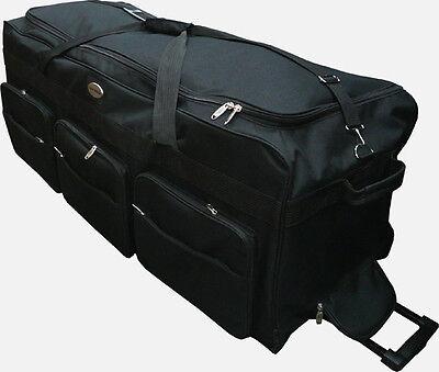 "42"" Black Heavy Duty Polyester Jumbo Rolling Wheeled Duffel Bag Luggage Suitcase"