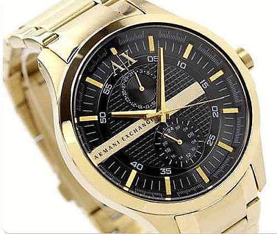 NIB Armani Exchange Black Dial Gold PVD Men's Watch AX2122