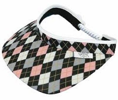 - NEW LADIES GLOVE IT PINK / GREY ARGYLE GOLF COIL VISOR