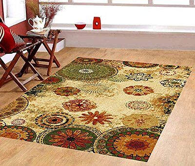 5'x8' Contemporary Floral Cheerful Color Rubber  Non-Skid Area Rug - 770