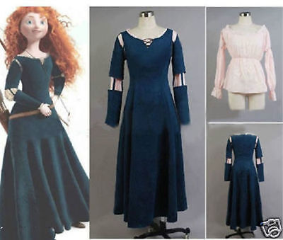 Made Princess Merida Costume Dress for Brave Cosplay Free shipping - Brave Costumes For Adults