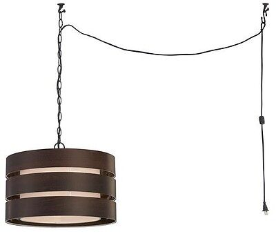 Rubbed Wood Chandelier (Oil Rubbed Bronze with Wood Look Swag Light with Plug or Basic)