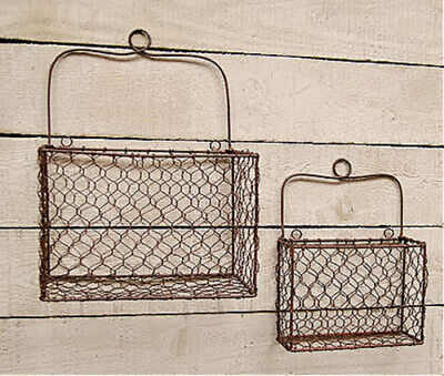 New Primitive Country Rustic 2 RUSTY CHICKEN WIRE WALL BASKET Mail Bin Organizer