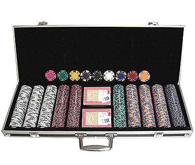 500 14 gr Clay Tri-Color Poker Chips Custom Set w/Case*