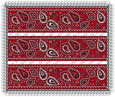 Bandana Red - Designer Strips - Edible Cake Side Toppers (Red Bandana Cake)