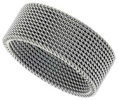 Surgical Stainless Steel Mesh Ring 10 mm Wedding Band Rope Chain Braided -