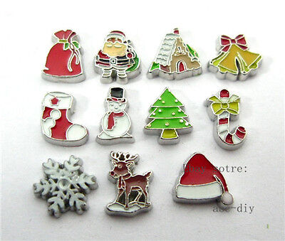 10pcs mixed Christmas floating living charms for floating memory locket FC321