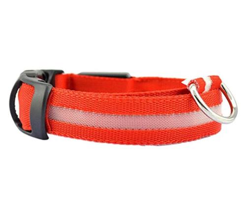 LED Adjustable Dog Collar Blinking Night Flashing Light Up Glow Pets Safety USA