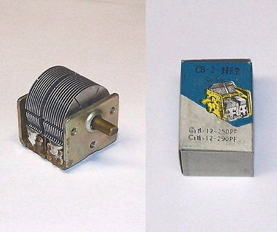 Hi-val Dual Mini 2 Section Variable Air Tuning Capacitor Tube Am Radio Cap Rare