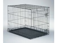 DOG CRATE, WIRE/BROWN PLASTIC COATED, WASHABLE PLASTIC TRAY AT THE BOTTOM, LARGE LOCKABLE DOOR
