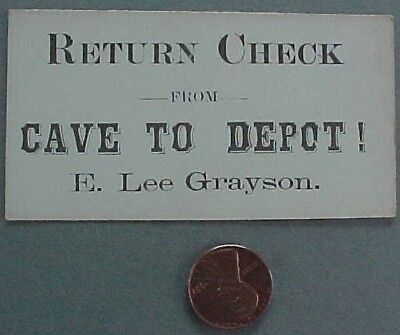 1925 Floyd Collins Mammoth Crystal Cave Kentucky train ticket back to depot-RARE