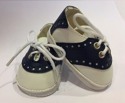 "Navy Blue Saddle Oxfords for 18"" American  Girl Doll Shoes Clothes Uniform"