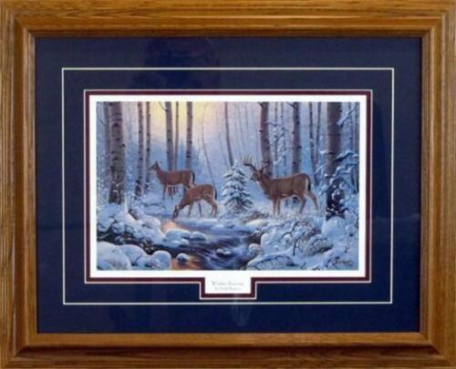 Derk Hansen Framed Winter Sunrise Deer Stream Print  21 x 17