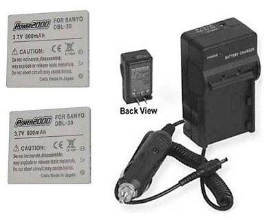 Two 2 Batteries + Charger For Sanyo Dmx-c5/t Dmx-c5/w Dmx-c6 Dmx-c6/k Dmx-c6/r