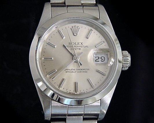 Rolex Date Ladies Stainless Steel Watch Quickset Oyster Band Silver Dial 69160