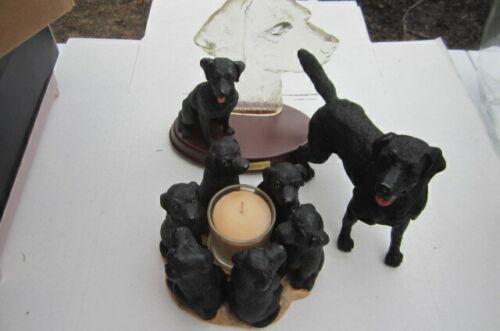 Preowned Lot of Black Lab Labrador Figurines - Faithful Friend & True Friends