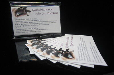 Eyelash Extension Lash After Care Instruction Cards
