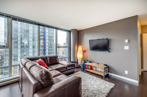 Furnished 2 beds + den condo downtown with a view