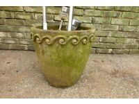 Large tall weathered plant pot 38cm tall
