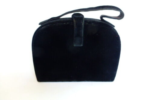 VTG Black Velvet Handbag 1940s 1950s Garay Boxy Dome Top Oval Mirror