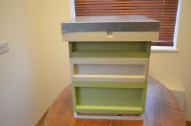 Painted Cream&Green National Bee Hive - Brand new and fully assembled