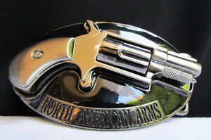 NEW-MEN-NORTH-AMERICAN-ARMS-COWBOY-WESTERN-GUN-BELT-BUCKLE-SILVER-BLACK-PISTOL