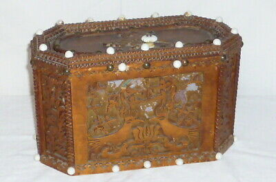Old Carved Wooden Chest Sewing Box Wooden Box Kerbschnitzerei Sewing Chest