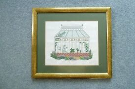 Cross stich work depicting a conservatory