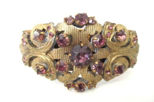 Victorian Amethyst Floral Hinged Bangle Bracelet
