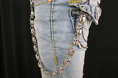 Rocker Silver Metal Long Wallet Jeans Chains Men Thick Skulls Biker Chunky Truck