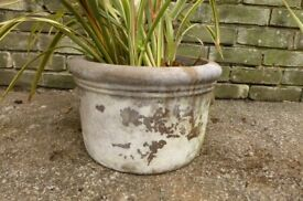 vintage weathered large planter with handles