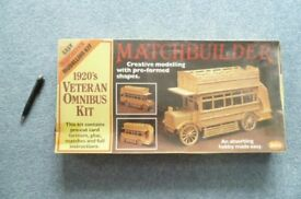 Matchstick model kit of an old bus