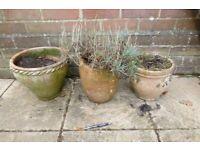 3 x clay planter plant pots