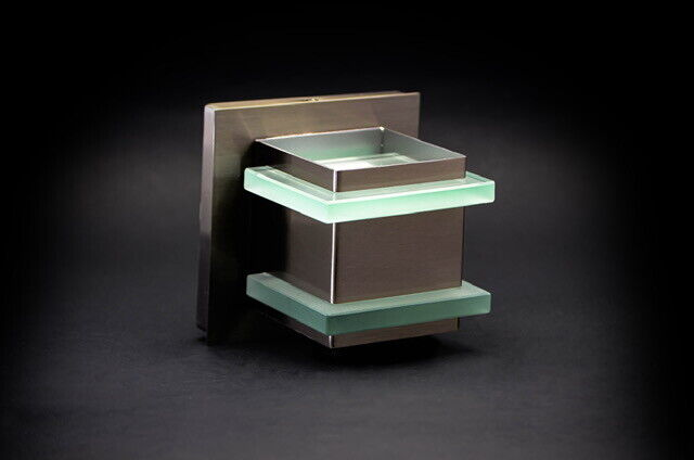 1 Light Chrome Wall Sconce with Green Edged Stacked Glass Br