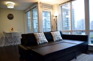Furnished Yaletown 1 bedroom br + den w/ balcony and A/C