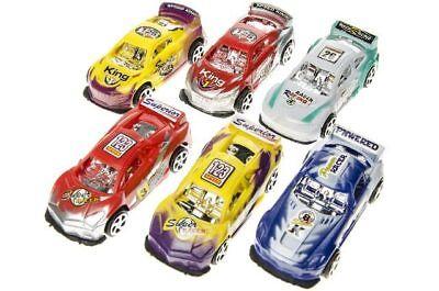 6x großes Spielzeugauto 8cm mit Rückzugmotor Kindergeburtstag Mitgebsel New Des