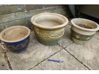 3 x ceramic plant pots