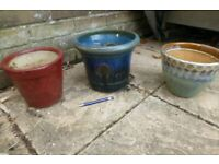 Red Green & Blue ceramic garden plant pots