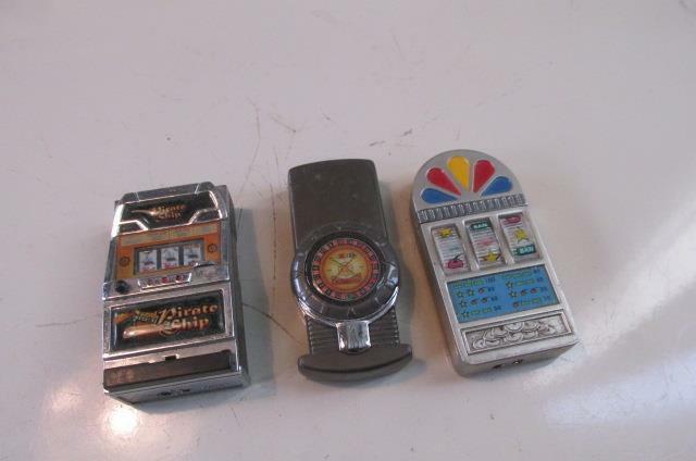 3 Casino Lighters 1 Wheel 2 Bandits Free Ship