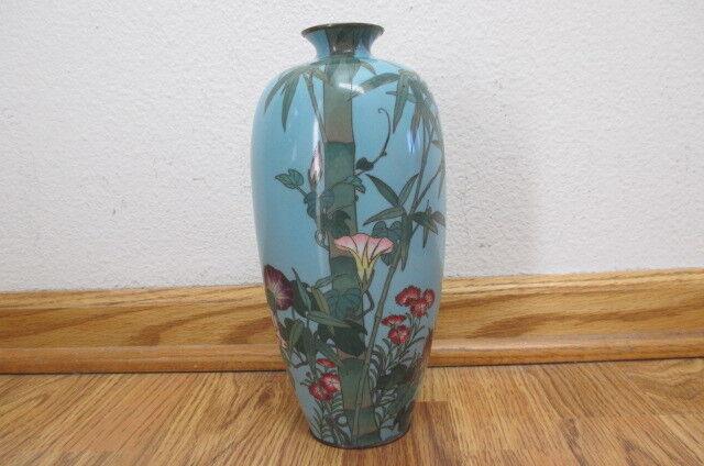 Antique Japanese CLOISONNE Enamel Bamboo Flowers Vase