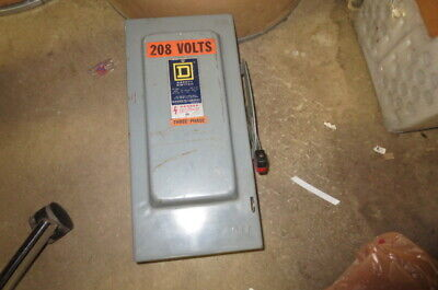 Square D H322n 3 Pole Heavy Duty Fused 60 Amp Disconnect Switch 240 Volt
