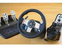 G27 STEERING WHEEL WITH PEDALS AND SHIFTER FOR SALE. EXCELLENT CONDITION.