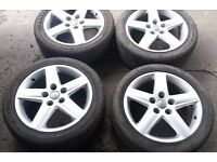 "GENUINE AUDI A4 A5 B6 B7 A6 C7 17"" SET OF 5 x 5 SPOKE SPORT S LINE ALLOY WHEELS 5x112 PCD PLUS TYRES"