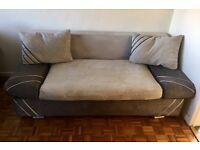 Grey suede sofa-bed