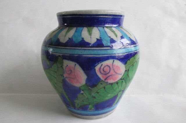"Vintage Jaipur India Hand Painted Art Pottery Lotus Vase 5.25"" Indian Signed"