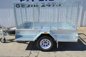 7X4 COMMERCIAL GALVANISED SINGLE AXLE TRAILER WITH CAGE BRAKES & RAMPS Pooraka Salisbury Area Preview