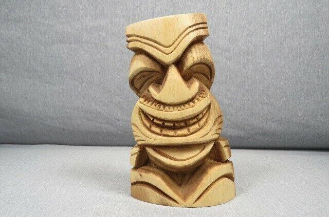 Happy Tiki Raw Wood Hand Carved Wooden Figure/ Statue Tiki Bar/ Home Decor