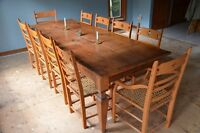 Harvest Table + 10 Chairs: $5500